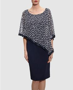 Womens Monotone Print Chiffon Cape Dress Gina Bacconi