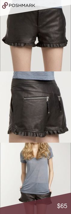Juicy Couture ruffle hem black leather shorts Black leather shorts. Can be worn year-round. Tights and boots or pumps in the winter and ballet flats and a tee in the summer. Size 0 but with a little give. Juicy Couture Shorts