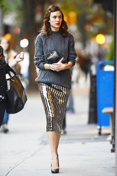 """livefastdiechung: """" Alexa Chung looks chic in a jumper and glitzy skirt as she arrives for a book signing of her scrapbook autobiography It at Bookmarc in New York """" Fashion Mode, Look Fashion, Winter Fashion, Womens Fashion, Fashion Trends, Party Fashion, Holiday Fashion, Fashion Hair, Holiday Outfits"""