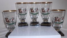 Vintage Ice Tea Glasses Polo Players Equestrian Horses Mid