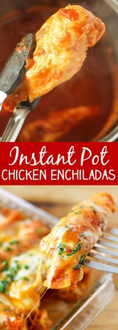 Instant Pot Pressure Cooker Chicken Enchiladas (note: the instant pot part is just for the filling, they still need to bake after.)