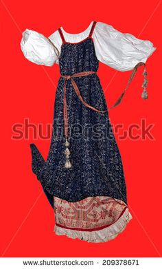 Russian village sundress - stock photo