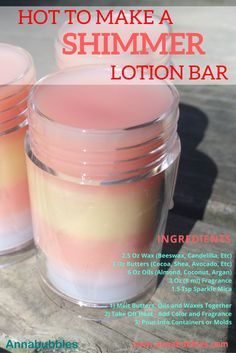 Easy Way to Make A Shimmer Lotion Bar! http://www.annabubbles.com