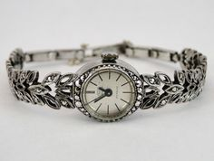 359)Ladies 1960's silver and marcasite cocktail watch in good working order Est. £15-£25