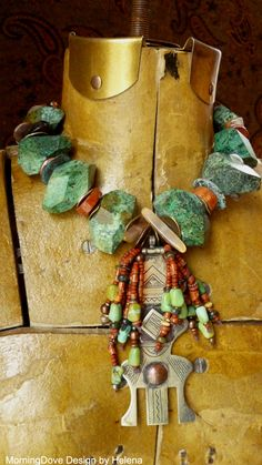 Necklace | Helena Nelson-Reed.  Tuareg mixed metal veil weight combined with natural stone chunks, glass and natural stone hieshi, vintage turquoise, agates and mixed metals |Pinned from PinTo for iPad|