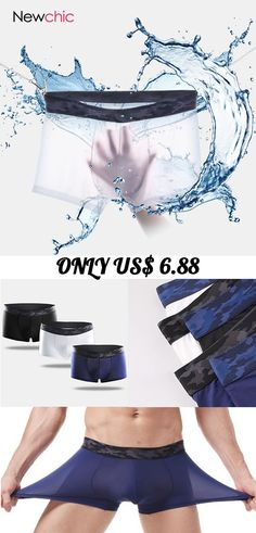 98abd43b43 Thin Seamless Ice Silk Underwear Stitching Camouflage Belt Breathable Boxer  Brief for Men  mens