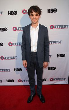 Actor Alex Lawther wears Burberry tailoring to a screening of Freak Showat Outfest Film Festival in Los Angeles