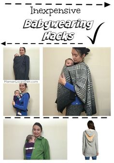 Inexpensive babywearing hacks ~ Maman Loup's Den: Use a Costco poncho or a Target sweater as a cover... use baby legwarmers as drool pads! (scheduled via http://www.tailwindapp.com?utm_source=pinterest&utm_medium=twpin&utm_content=post84934615&utm_campaig