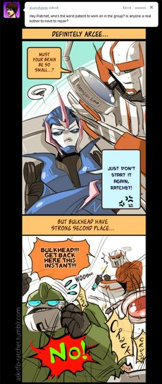 Lol poor Rachet! xD Arcee annoys me too xD