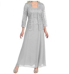 Lace Chiffon Mother of the Bride Dress Gown With Jacket Sleeve Floor Length Mother Of The Bride Trouser Suits, Mother Of The Bride Jackets, Mother Of The Bride Plus Size, Mother Of The Bride Dresses Long, Mother Of Bride Outfits, Mothers Dresses, Tea Length Dresses, Plus Size Dresses, Gown With Jacket