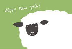 年賀素材館/年賀状テンプレート「未(ひつじ)」羊のアップ3ダウンロード