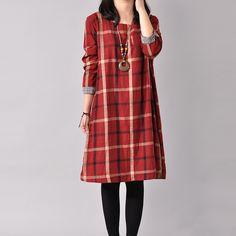 Women Cotton Linen Large Size Shirt Dress Loose Fitting Long Sleeve