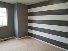 Painting job Striped Walls Bedroom, Toddler Bedroom Wall, Bedroom Design, Striped Walls, Bedroom Decor, Home Decor, Room Decor, Home Decor Furniture, Bedroom Wall Designs