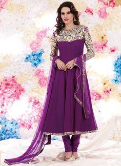 Cbazaar Sizzling Purple Anarkali Suit