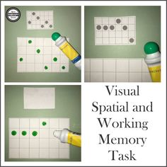 To use this free visual spatial and working memory task print out pages Cut apart the cards. To practice visual spatial skills, place one card with dots and one blank board in front of the child. Visual Motor Activities, Visual Perceptual Activities, Cognitive Activities, Activities For Adults, Therapy Activities, Sensory Activities, Children Activities, Educational Activities, Therapy Ideas