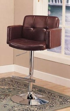 """Tufted Adjustable Height Bar Stool in Brown Leather like Vinyl with Chrome Finish by Coaster Home Furnishings. $123.71. Easy Assembly Required. Dimensions: Width: 24.5"""" x Depth: 23.25"""" x Height: 42.5"""". This cool contemporary faux leather bar chair will be a stylish addition to your casual dining and entertainment area. The plush tufted stool back and seat are covered in a rich faux leather, in either brown or black to complement your taste, framed by sleek track arms. A shiny ..."""
