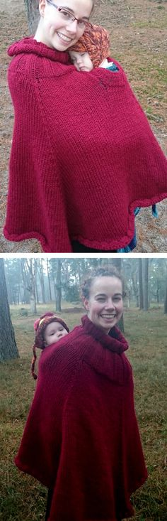 Free Knitting Pattern for Baby-Wearing Poncho - This ingenious poncho is designed to be worn over a baby carrier with two neck holes for parent and ba Poncho Knitting Patterns, Knitted Poncho, Crochet Patterns, Knitting For Kids, Easy Knitting, Crochet Baby, Knit Crochet, Knitting Accessories, Baby Patterns