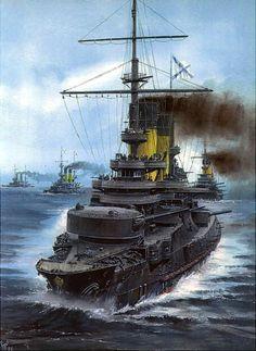 Russian battleship Borodino at the Battle Of Tsushima