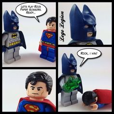 Batman challenges Superman to a game....  Photo by lego_legion