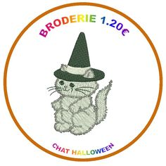 MOTIF BRODERIE CHAT HALLOWEEN