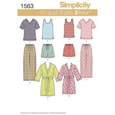 misses', men's and teens' knit tops in short sleeve v-neck tee or pull on scoop   neck tank top. also includes pull on shorts and pants with elastic waist and bathrobe. simplicity sewing pattern.<p>note:   if used as sleepwear, use fabrics