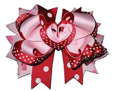 NEW VALENTINE'S DAY Love Heart Ribbon Sculpture Hair Bow Alligator Clip Girls Holiday Hairbow Over the Top ** This is an Amazon Affiliate link. Details can be found by clicking on the image.