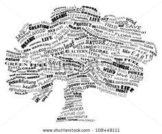 Ecology - environmental poster made from words in the shape of tree - stock vector