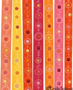 Tangerine Twirl Pattern Collection by Linda Solovic #patterns #illustration