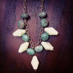 Green Moss Opal and Howlite Bauble necklace available now! at vauxswiftjewelry.com