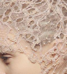 "Alexander McQueen: headpiece detailing, netting/webbing/lace, beading, ""moth-eaten""?"