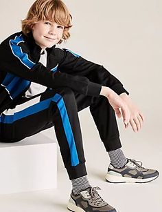 Skinny Cotton Side Stripe Joggers (6-14 Yrs) | M&S Suit Shop, Man Shop, New Bra, London Spring, Stylish Boys, Check Shirt, Skinny Fit, Lounge Wear, Joggers