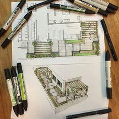Landscape sketch design architects New Ideas Landscape Sketch, Landscape Architecture Design, Architecture Graphics, Architecture Drawings, Art And Architecture, Landscape Architects, Classical Architecture, Interior Design Sketches, Sketch Design