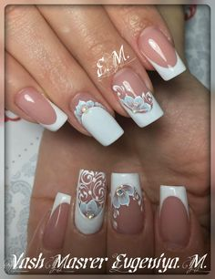 Here are some hot nail art designs that you will definitely love and you can make your own. You'll be in love with your nails on a daily basis. Bride Nails, Lace Nails, Wedding Nails Design, Diamond Nails, Manicure E Pedicure, Fabulous Nails, Creative Nails, French Nails, Nails Inspiration
