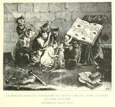 La musique baroque introduit en France par les chats italiens. Anonymous engraving.