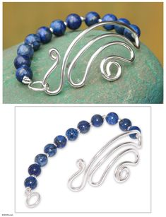 Collectible Sterling Silver Beaded Lapis Lazuli Bracelet - In Visions | NOVICA