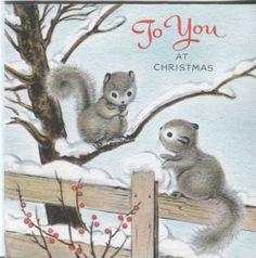 Vintage Hallmark Christmas Card: Squirrels on a Fence