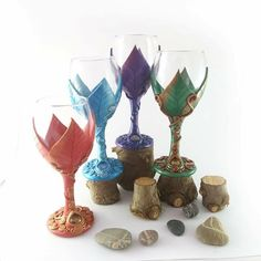 My hand sculpted fantasy wine chalices are now available in more colours, a perfect gift for weddings, anniversaries and birthdays. Custom orders in any colours are welcome.