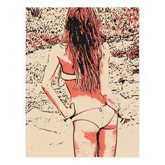 Glamour girl posing in hot lingerie at beach postcard