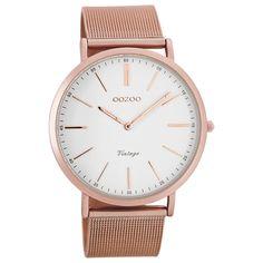 Oozoo Damen-Uhr Ultra Slim Quarzuhr Metall-Armband rosegold UOC7390