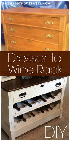 Dresser to Wine Rack DIY Visit Site for Tutorial The Happy Housewife