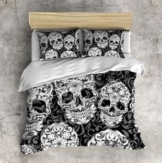 Sugar Skull Bedding  ANY COLOR Beautiful Scroll Work by InkandRags