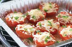 "Cheese-Topped Grilled Tomatoes recipe (this is probably the most quick recipe I will post and probably the healthiest, but that doesnt make it ""gross"" (note my title of the board), the italian dressing and fresh herbs you place on the tomatoes are sure to bring out the true savory flavor in tomatoes,enjoy!) #kraftrecipes"