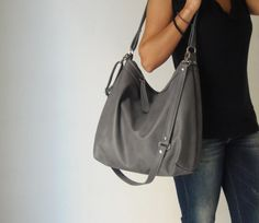 Black leather purse/ leather shoulder bag/ soft leather by Laroll ...