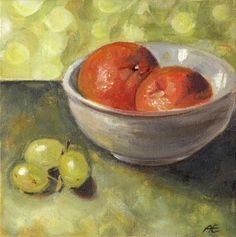 """""""Tangerines and Grapes"""" - oil on canvas board - Anja Essler"""