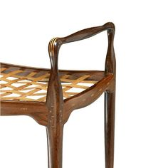 Rosewood stool with contrasting wood inlays and woven boxwood seat, Peder Moos.