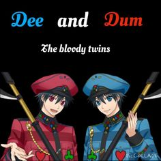 Characters: Dee and Dum (child forms) From: Alice in the Country of Hearts Made on: PicCollage Alice Anime, Alice Liddell, Clovers, Anime Oc, Cheshire Cat, Heartland, Anime Stuff, Manga Art, Alice In Wonderland