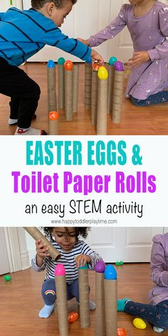 Here is a fun and crazy quick to set up STEM and fine motor Easter activity that only requires two things and one excites toddler or preschooler. activities for toddlers sensory Easter Eggs & Toilet Paper Rolls Preschool Learning Activities, Easter Activities, Spring Activities, Infant Activities, Kids Learning, Educational Activities, Fun Activities, April Preschool, Toddler Fun