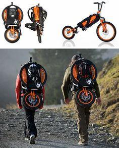 Inventos que nos gustan: Backpack bike. Si la vais a usar, click y echad un vistazo a estos Consejos de Seguridad en la vía pública.