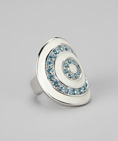 Blue Sparkle & Silver Concentric Circle Ring