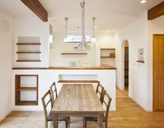 Kitchen Room Design, Kitchen Sets, Interior Design Living Room, Interior Decorating, Japanese Modern House, Muji Home, Cafe Interior, Home Kitchens, Sweet Home